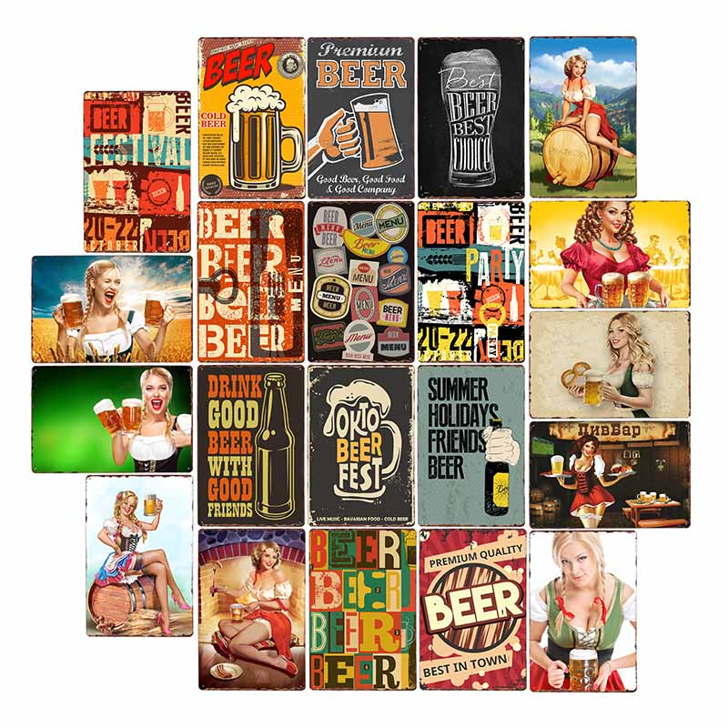 Pin Up Girls Beer Metal Signs Vintage Plaque Sexy Lady Pub Bar Wall Poster Painting Home Decor 20x30cm Plaques & Signs    - AliExpress