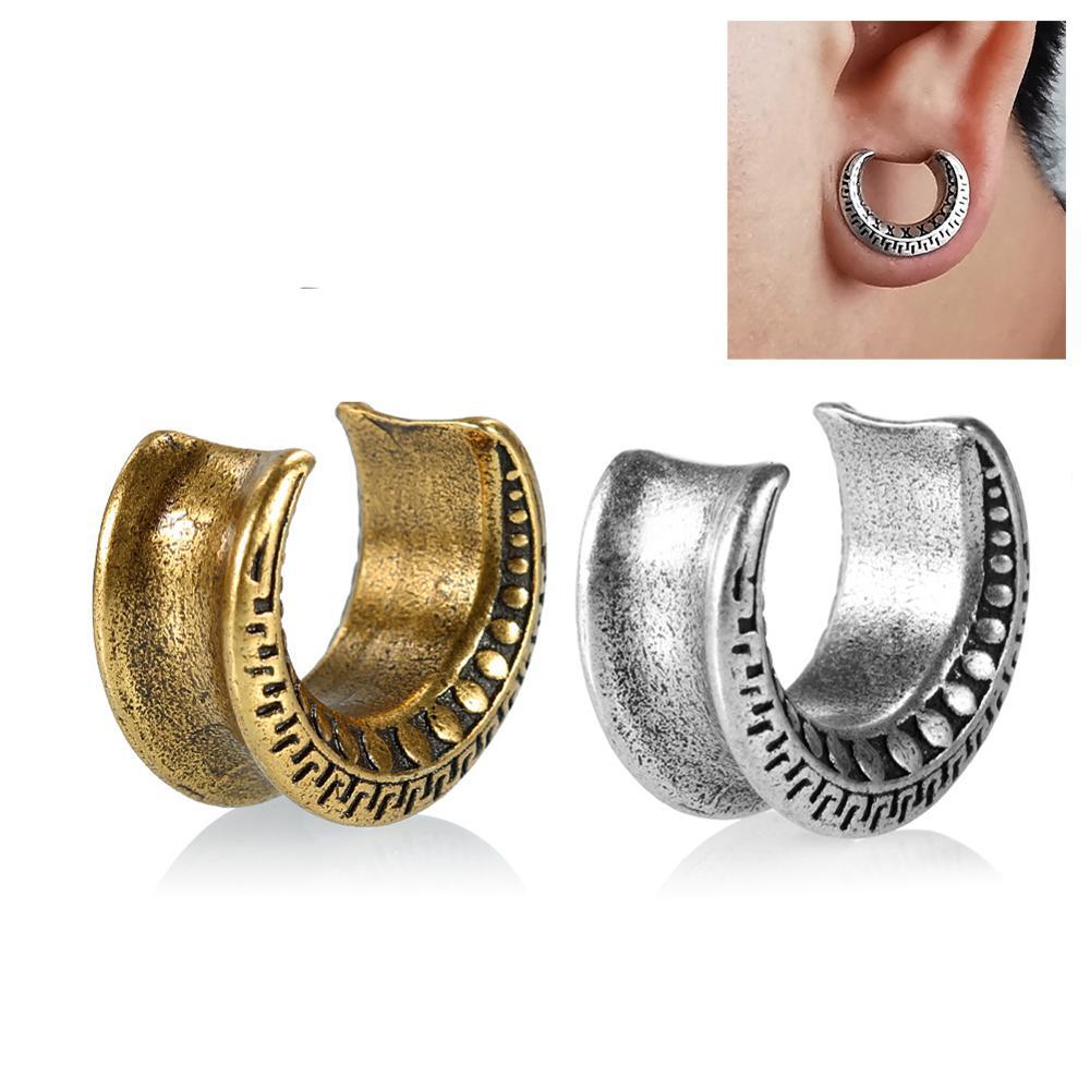 BIG GAUGES 2 Pairs Crocodile Wood Areng Double Flared Saddle Piercing Jewelry Ear Stretcher Flesh Tunnel O Ring Earring Lobe Plugs