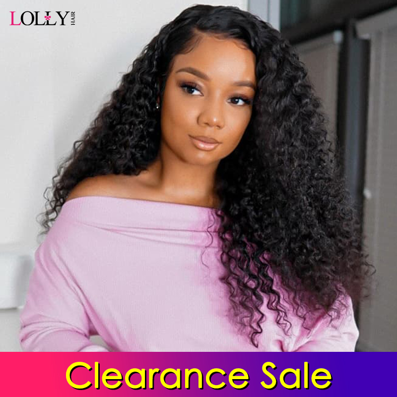 Clearance Sale Lace Front Human Hair Wigs Curly Pre-Plucked Hairline Baby Hair Mongolian Remy Human Hair Lace Front Wig Lolly