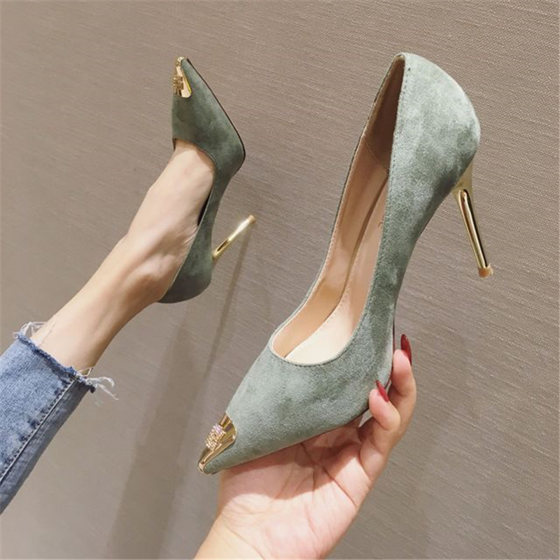Womens Shoes 2020 High Heels Casual OL Sexy Korean Fashion Pumps Elegant Shoes Party Thin High Heels Metal Pointed Toe Pumps