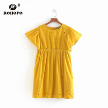 ROHOPO Double Layers Orange Embroidery Cotton Dress Woman Butterfly Sleeve Ruffled Pleated Mini Solid Vestido #9312