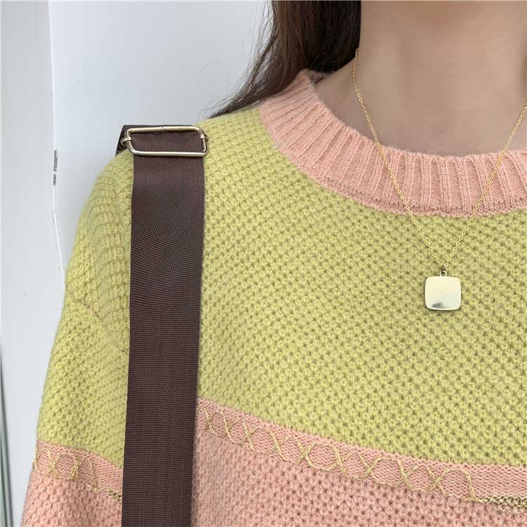 Maglie e Maglioni Colorfaith Nuovo 2019 Inverno delle Donne di Autunno Allentato casual Minimalista Alla Moda Magliette e camicette Stile Coreano di Lavoro A Maglia A Righe SW1819