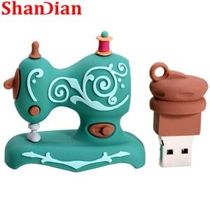 Image 5 - SHANDIAN קריקטורה USB2.0 דיסק און קי תפירת מכונת עט כונן עט כונן 4gb 16gb 32gb 64gb 128gb U דיסק חתונה הנצחה G
