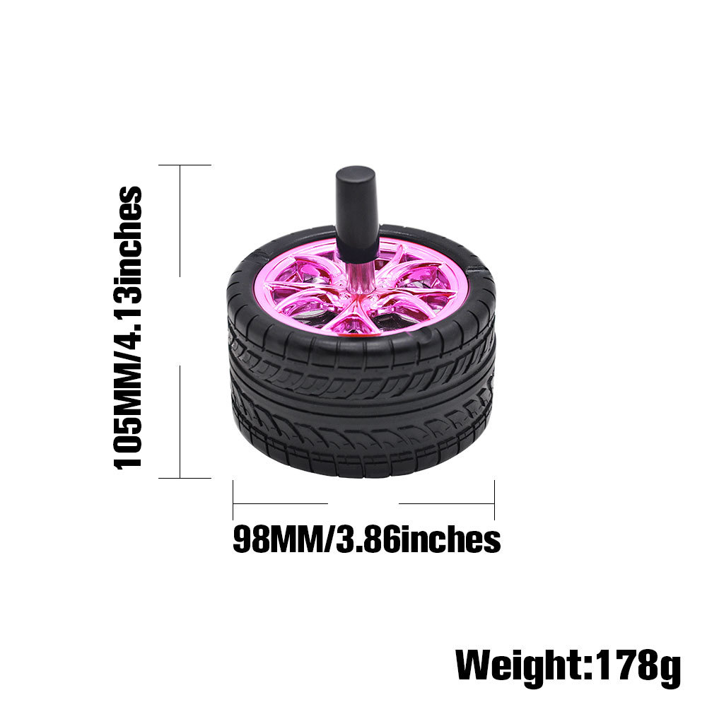 Creative Rubber Car Tires diameter 98mm Ashtray Press Rotary Portable Ash Tray Ashtray Metal  2-layer Ashtrays With Lids Silicone Ashtray 1
