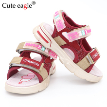 Girls Summer Open Toe Hook and Loop Beach Walking Sports Sandals Child Comfortable Pig leather insole EVA sole Roman sandals