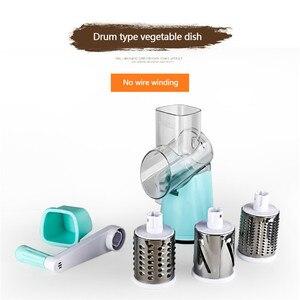 Image 5 - Coupe légumes manuel trancheuse rotation Mandoline trancheuse pomme de terre carotte râpe avec 3 lames de hachoir en acier inoxydable outil de cuisine
