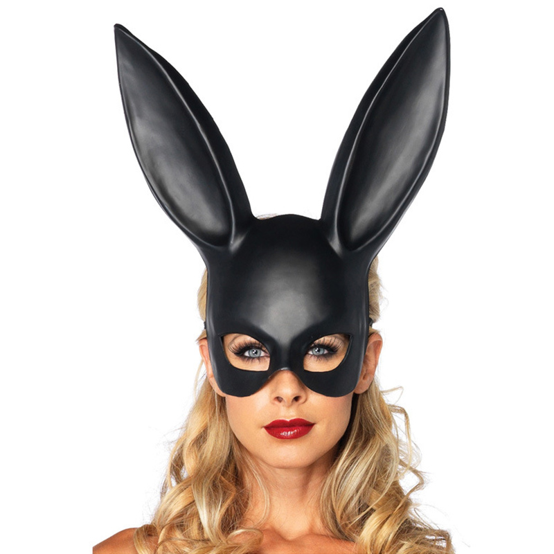 Women Girl <font><b>Sexy</b></font> Rabbit Ears <font><b>Mask</b></font> Cute Bunny Long Ears Bondage <font><b>Mask</b></font> <font><b>Halloween</b></font> Masquerade Party Cosplay Costume Props K1211 G image