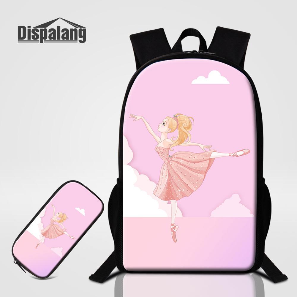 2 PCS Bags Set Ballet Designer Schoolbag Girl Lovely Pencil Case Backpack For School Student Bookbag Women Cute Shoulder Bagpack