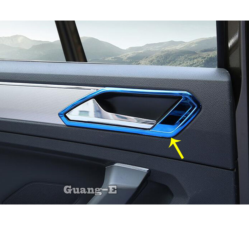 For Volkswagen VW TiguanL Tiguan L MK2 2016 2017 2018 2019 2020 Car Cover Stick Trim Door Handle Bowl Frame Armrest Handrail image