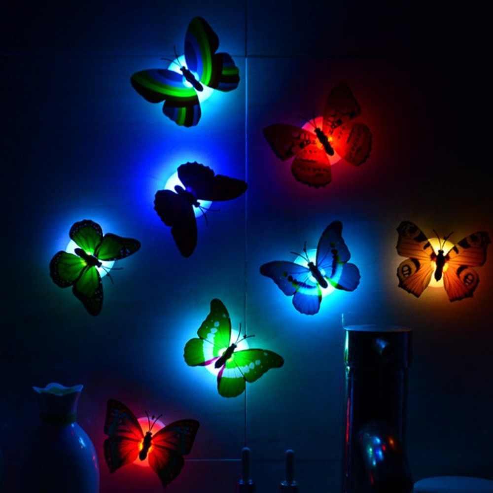 Colorful LED Dekat Lampu Butterfly Bentuk Tempel Dinding Dekorasi Rumah untuk Kamar Anak Tahan Lama Hemat Energi Lampu Hias