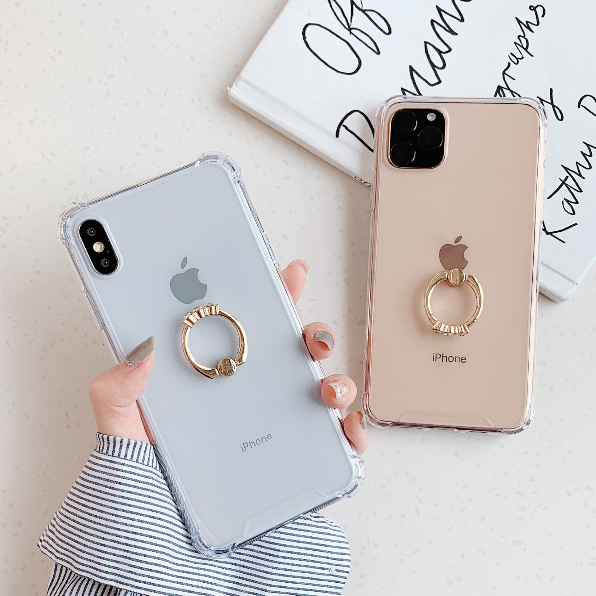 Transparent Case For iPhone 12 Mini 11 Pro Max XR X XS Max 8 7 Plus Case Luxury Gold Finger Ring Back Cover Acrylic Fundas Coque