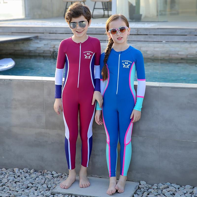Children Sun-resistant Bathing Suit Long Sleeve Snorkeling Suit Girls BOY'S Siamese Swimsuit Big Boy Swimwear Quick-Dry Diving S
