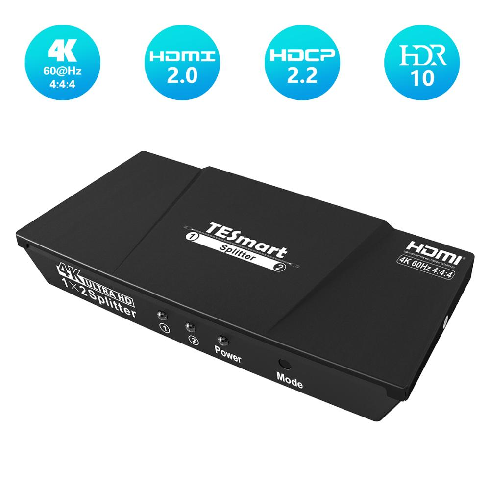 4K Ultra HD HDMI Splitter HDCP2.2 4K@60Hz Splitter HDMI 1In 2 Out For Dual Monitor 1x2 Splitter Compatible With PC PS3 PS4 Xbox