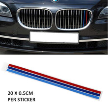 3Pcs M-Colored Sticker Griglia Anteriore Della Decalcomania per BMW 1, 3, 5, 6, x3, X5, X6 Automobili di Serie di Auto Del Veicolo accessori Auto Car styling(China)