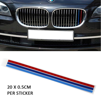 3Pcs M-Colored Sticker Front Grille Decal for BMW 1, 3, 5, 6, X3, X5, X6 Series Cars Auto Vehicle Car accessories Car styling image