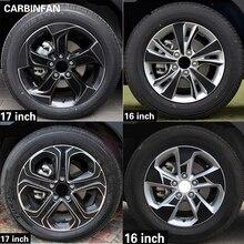 16 17 дюймов углеродного волокна наклейка на обод колеса для центрального движения колеса Водонепроницаемый Стикеры для Honda Vezel HR-V вариабельности сердечного ритма