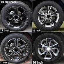 Adesivo de aro de roda de fibra de carbono, 16 17 polegadas, cubo à prova d' água, adesivo para honda vezel HR-V hrv 2014 2015 2016 2017 2018 2019