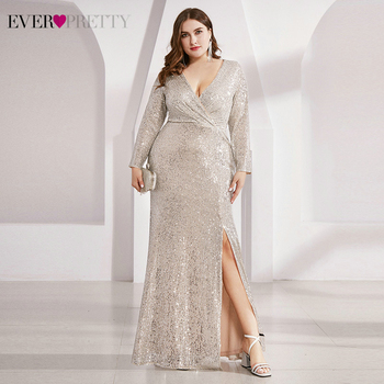 Plus Size Evening Dresses Ever Pretty Sequined Deep V-Neck Ruched Long Sleeve Side Split Sparkle Mermaid Party Gowns Vestidos plus size burgundy evening dresses ever pretty mermaid short sleeve o neck floral lace see through long party gowns vestidos