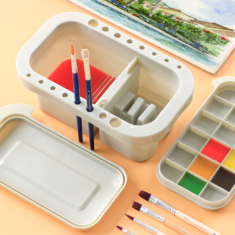 NEW Brush Washing Bucket Multifunction Pen Barrel Brush Washer Art Supply Oil Acrylic Watercolor Tool Art Palette Brush Holder