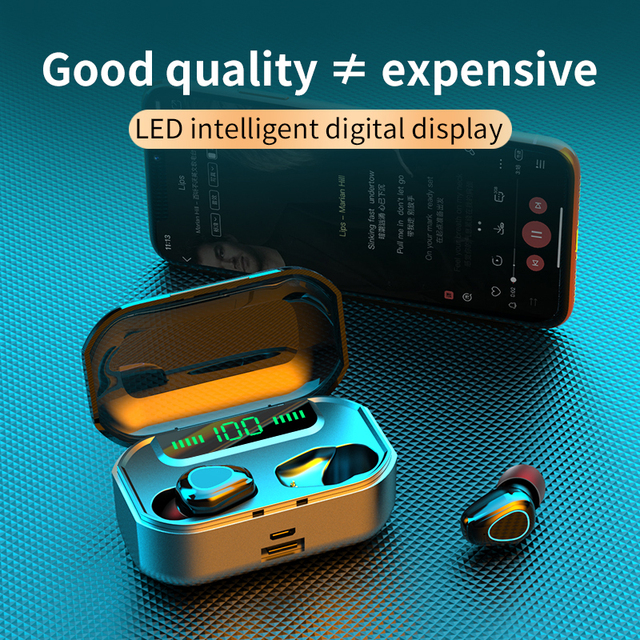 Купить bluetooth v50 наушники 3500 ма/ч беспроводные со светодиодной картинки