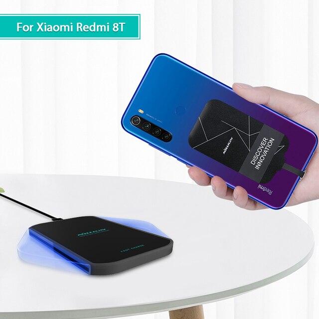 Carregador sem fio redmi note 8t qi, bolsa de carregamento wireless com usb tipo c para xiaomi redmi note 8t pro
