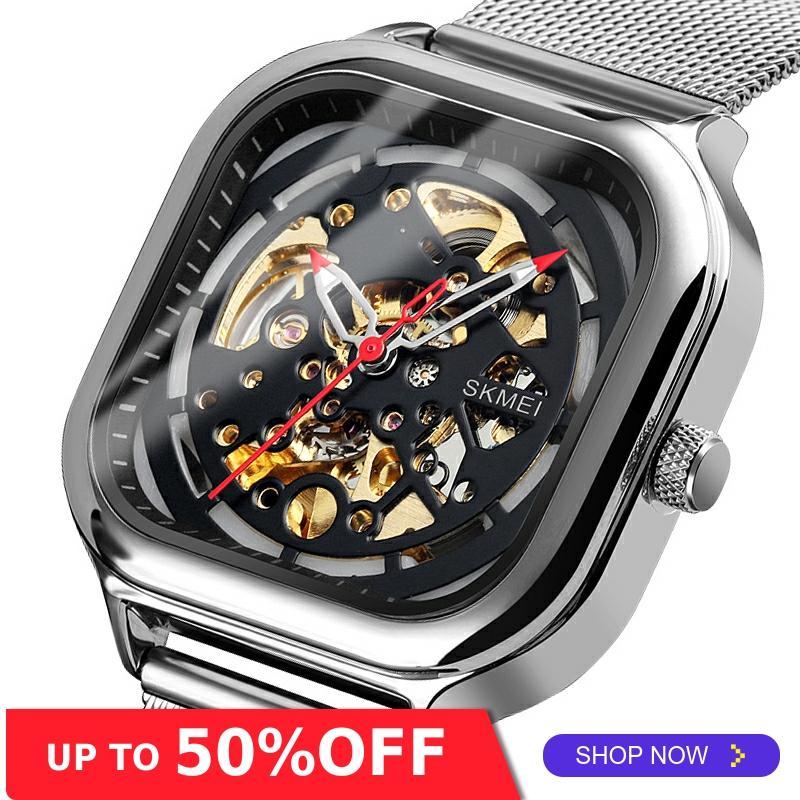SKMEI Mechanical Watch Men Automatic Watch Quartz Waterproof Hollow Art Strainless Steel Strap montre homme Fashion Clock 9184
