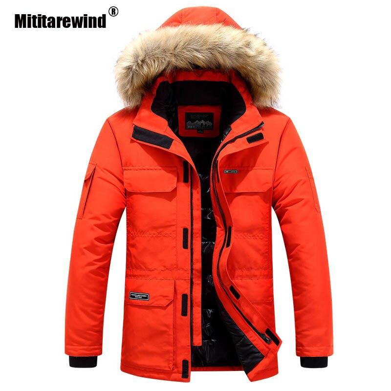 2020 jaqueta de inverno dos homens canadá para baixo jaqueta moda com capuz colarinho com pele blusão manter quente engrossar casaco M-6XL roupas masculinas