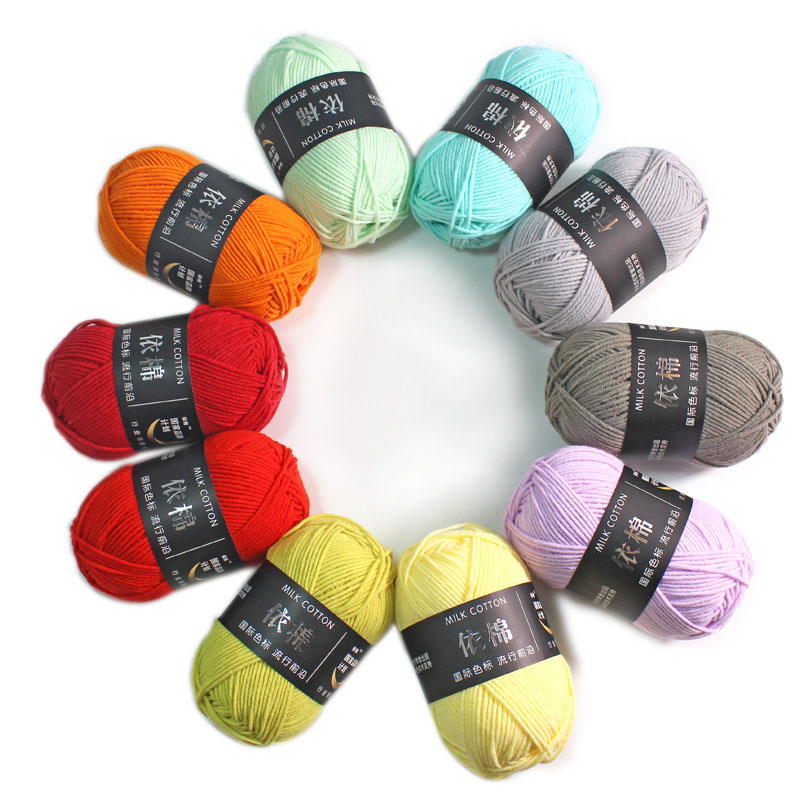62 Colors Cotton Baby Milk Yarn Worsted Cotton Crochet Thread Hand Knitting Wool Line Dyed Thread Cheap-in Yarn from Home & Garden
