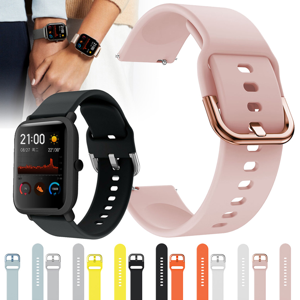 Soft Silicone Sport Strap Band For Xiaomi Huami Amazfit GTS Bip Pace Lite Smart Watch Replacement Bracelet 20mm Rubber Watchband
