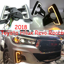 цена на 2PCS LED Daytime Running Light For Toyota Hilux Revo Rocco 2018 2019 Car Accessories Waterproof 12V DRL Fog Lamp Decoration