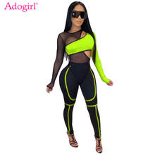 Adogirl Color Patchwork Sheer Mesh Bandage Jumpsuit 2 Piece Set Hollow Out Long Sleeve Casual Romper