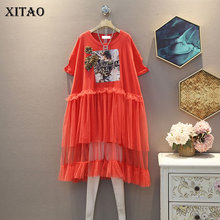 XITAO Patchwork Mesh Character Dress Plus Size Women Clothes 2020 Summer New Fas