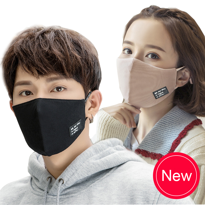 Black Unisex Cotton Mouth Mask Anti Haze Dust Fashion Hanging Ear Dustproof Mouth-muffle Winter Warm Face Cover Masks Respirator