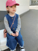 Denim Overalls High Quality Autumn Spring Children Clothing Girls Jumpsuit Loose Toddler Kids Pants for 12M-5T