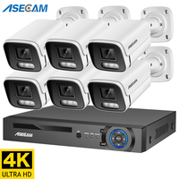 4K Ultra HD 8MP H.265 NVR POE Kit de sistema de seguridad impermeable al aire libre cámara IP CCTV Audio Video récord