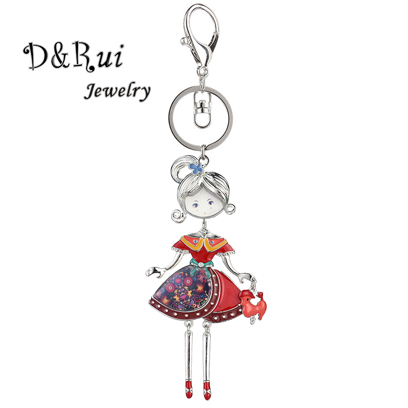 <font><b>D</b></font>&Rui Jewelry <font><b>2019</b></font> Hot Statement Key Chain for Women Girls Lady Handbag Charms Enamel Alloy Car Pendant Keychains Keyrings Gift image