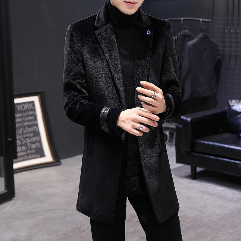 British Style Thick Warm Jackets Men Clothing 2021 Fashion Casual Coats Windbreaker Autumn Winter For Mens Long Slim Woolen Coat