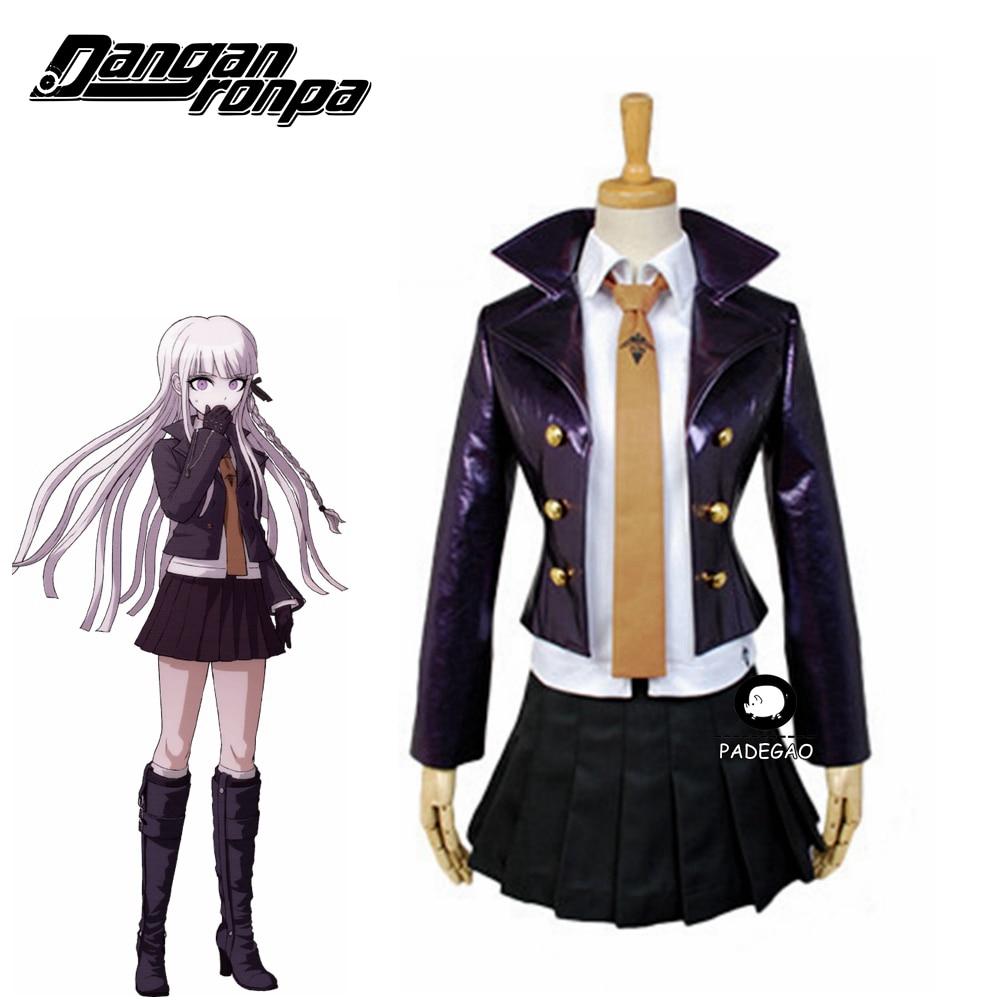 Danganronpa Kirigiri Kyouko Full Set Halloween Cosplay Costume Dangan-Ronpa Trigger Happy Havoc Uniform (Jacket+Shirt+Skirt+Tie)