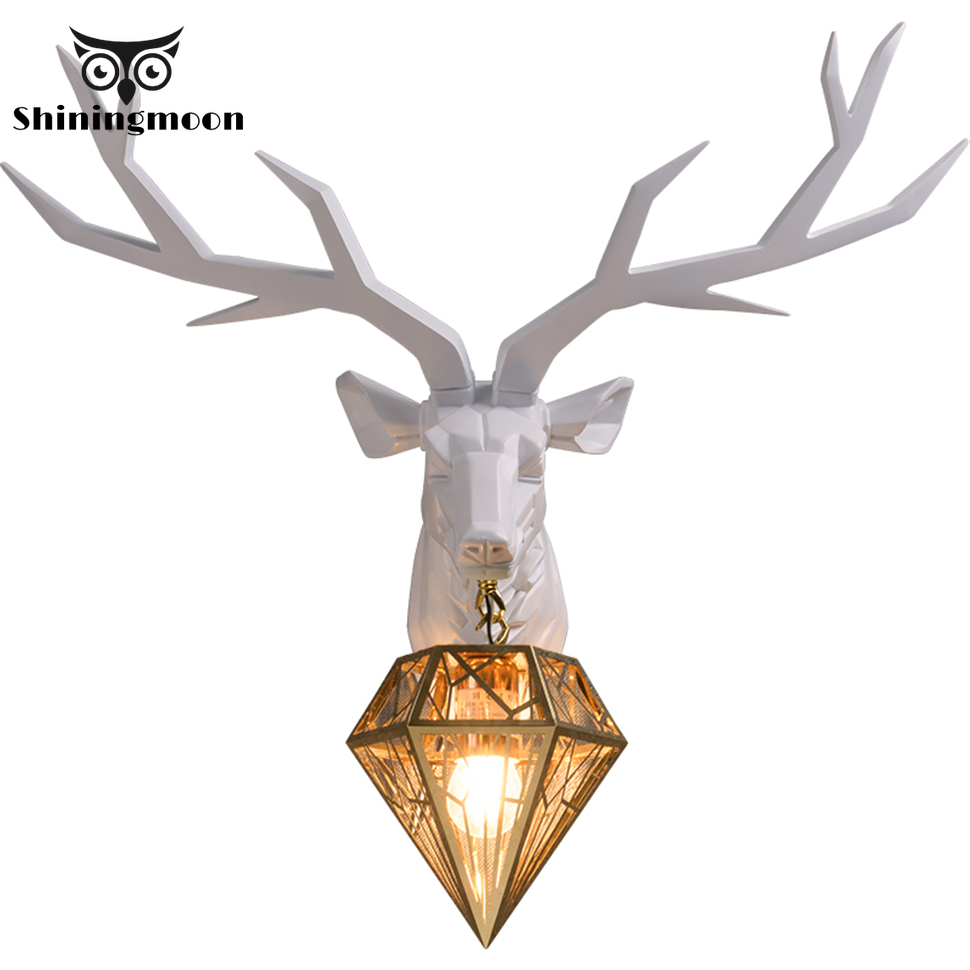 Modern Resin Deer Art Wall Lamp Nordic Gold Glass Lampshade Wall Light Living Room Decoration Wall Lights for Home Vanity Light