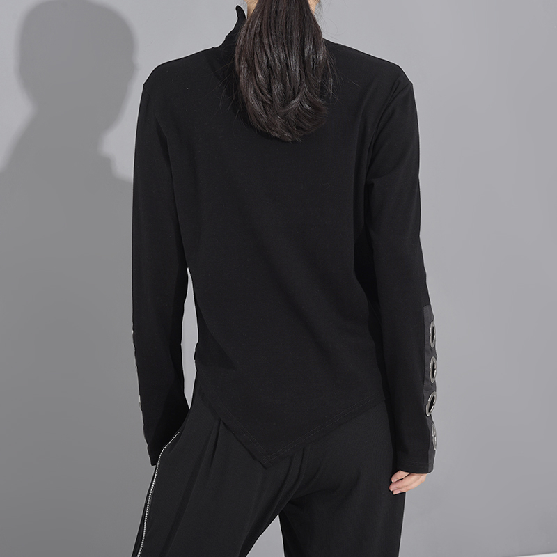 [EAM] Women Black Hollow Out Asymmetrical Split Joint T-shirt New Stand Collar Long Sleeve  Fashion Spring Autumn 2020 1M87401 3