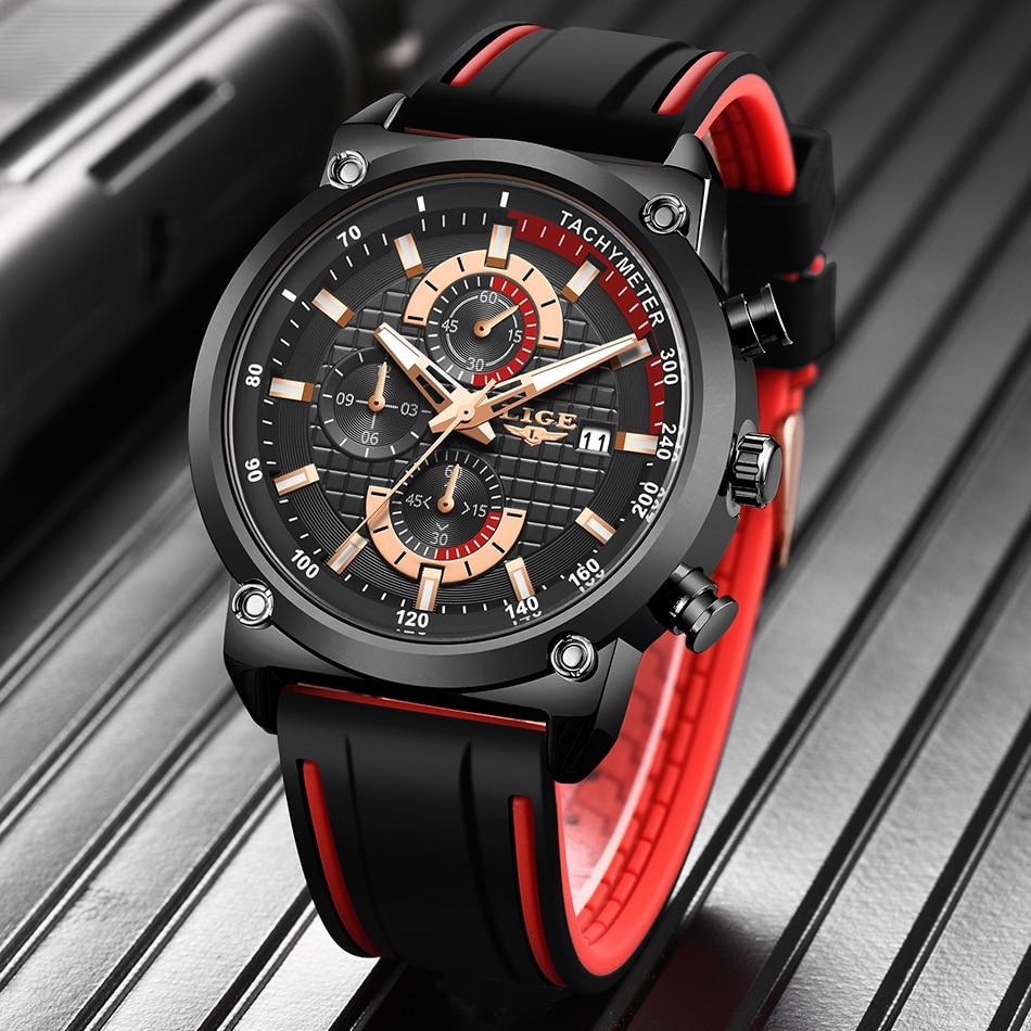 He46af30a2bf34de5b8e9484c252c7871I New Top Fashion Chronograph Quartz Men Watches LIGE Silicone Strap Date Wristwatch Clock Male Luminous Watch Relogio Masculino