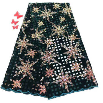 New French Nigerian Sequins Net Lace African Tulle Mesh Lace Fabric High Quality For Party Wedding Dress 5yards/lot M1041