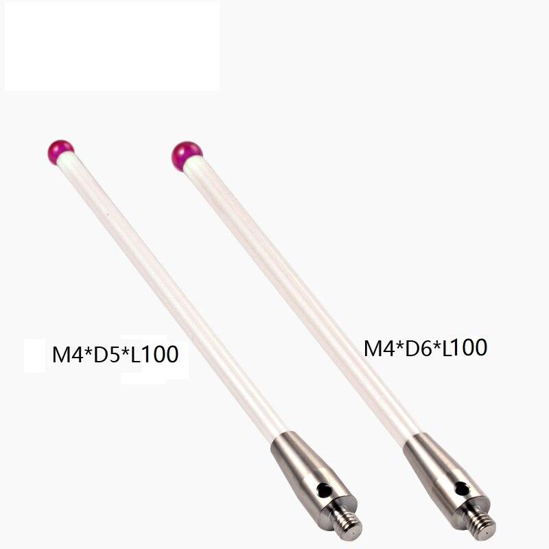 5 6mm OD M4 L100 Thread Ruby Head Ceramic Styli Rod 3D Three Dimensional Gauge Meter Coordinate Measuring Machine CMM Tip Probe