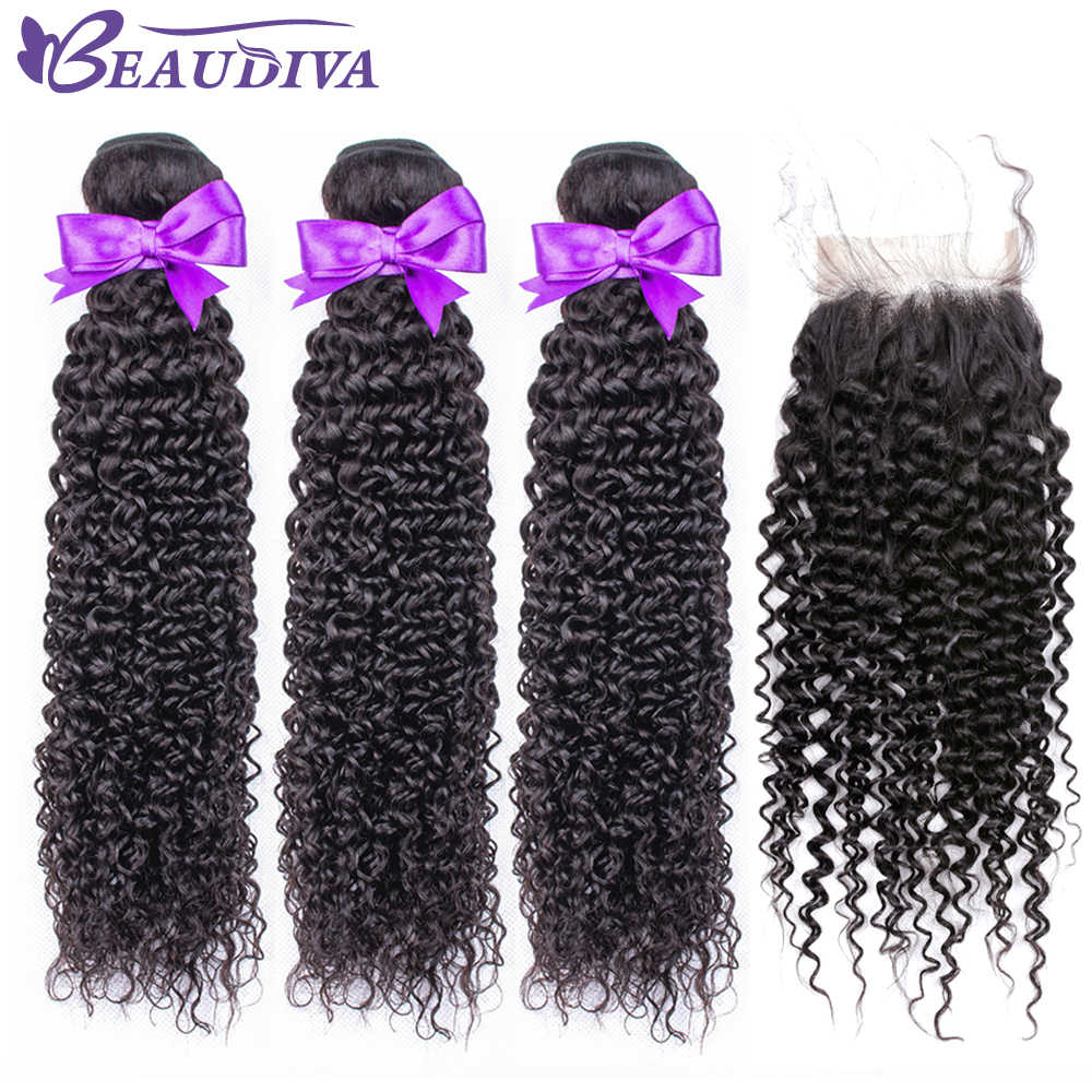 BEAUDIVA Hair Products 100% Malaysian Human Hair Bundles With Closure Kinky Curly Natural Color 4 Bundles With 4x4 Lace Closure