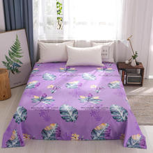 Bonenjoy 1 pc Bed Sheet Purple Color Reactive Printed Floral Style Double Bed Linen Queen Size Flat Top Sheets