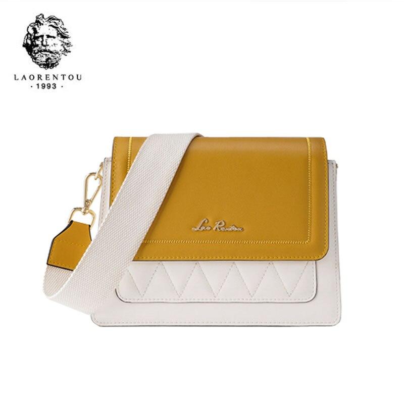 LAORENTOU women leather bag  2020 new fashion contrast color crossbody bag Wild single shoulder bag Small fresh messenger bag 2