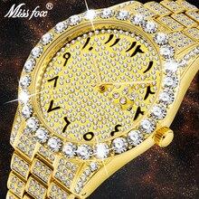MISSFOX arapça rakamları Mens saatler üst marka lüks İzle erkekler 18k altın büyük elmas Canlender klasik erkek buzlu out izle