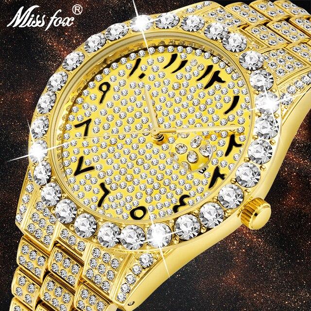 MISSFOX relojes con números arábigos para hombre, reloj de lujo de marca superior, oro de 18k, Diamante grande con Canlender, Reloj clásico para hombre Iced Out