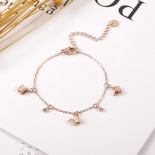 Ailodo Cute Butterfly Bracelets For Women Girls Rose Gold Color Titanium Steel Female Never Fade Fashion Jewelry LD390
