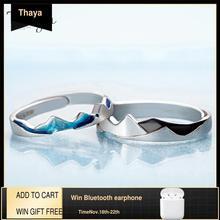 Thaya החוף חוף עיצוב טבעות מגניב בקיץ S925 סטרלינג כסף תכשיטי טבעת זוג לחתונה אירוסין מתנה